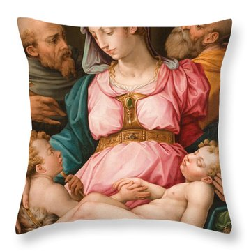 Holy Family With The Infant Saint John The Baptist And Saint Francis Throw Pillow by Giorgio Vasari
