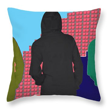 Hoodie Gang Graffiti Fashion Background Designs  And Color Tones N Color Shades Available For Downlo Throw Pillow by Navin Joshi