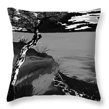 Horizon In Black And White Throw Pillow