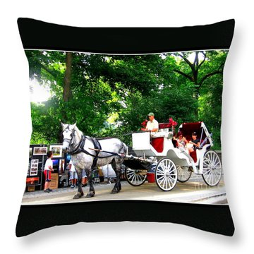 Horse And Carriage In Central Park Throw Pillow