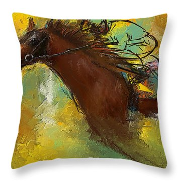 Horse Racing Abstract Throw Pillow