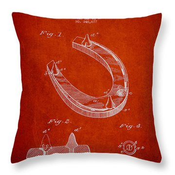 Horseshoe Patent Drawing From 1881 Throw Pillow by Aged Pixel