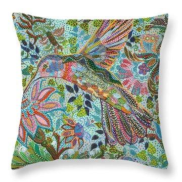 Hummingbird Throw Pillow by Erika Pochybova