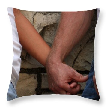Throw Pillow featuring the photograph I Wanna Hold Your Hand by Lesa Fine