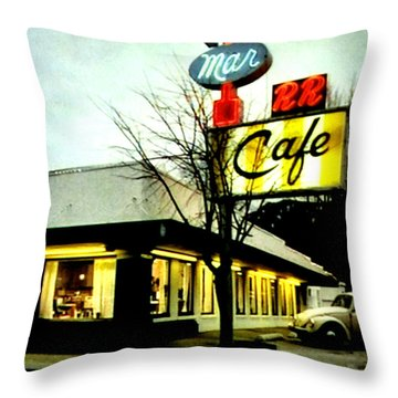 Throw Pillow featuring the painting I Went For Breakfast At The Double R by Luis Ludzska