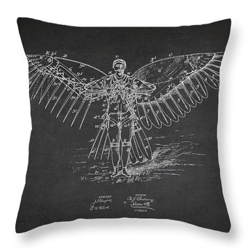 Icarus Flying Machine Patent Drawing Front View Throw Pillow by Aged Pixel