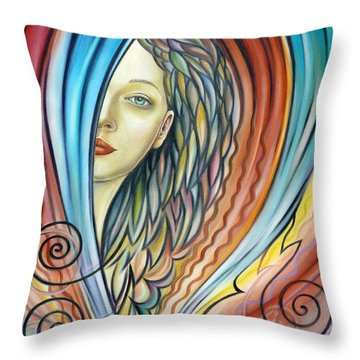 Throw Pillow featuring the painting Illusive Water Nymph 240908 by Selena Boron