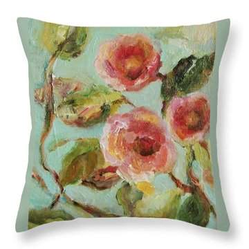 Throw Pillow featuring the painting Impressionist Floral Painting by Mary Wolf