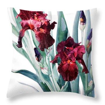 Dark Red Tall Bearded Iris Donatello Throw Pillow