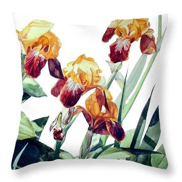 Watercolor Of Tall Bearded Irises I Call Iris La Vergine Degli Angeli Verdi Throw Pillow