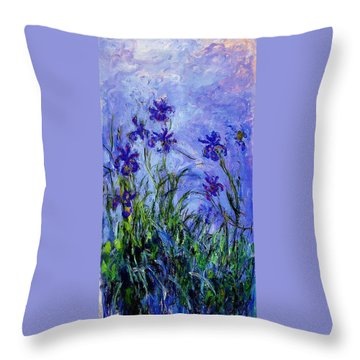 Throw Pillow featuring the painting Irises by Celestial Images