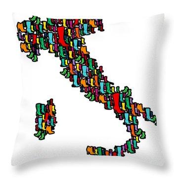 Italy Map Throw Pillow by Mark Ashkenazi