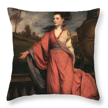 Jane Fleming, Later Countess Throw Pillow by Sir Joshua Reynolds