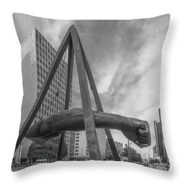 Joe Louis Fist In Detroit  Throw Pillow