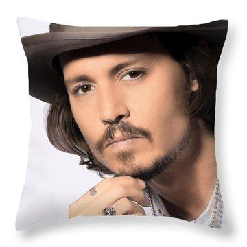 Throw Pillow featuring the photograph Johnny Depp by Karon Melillo DeVega