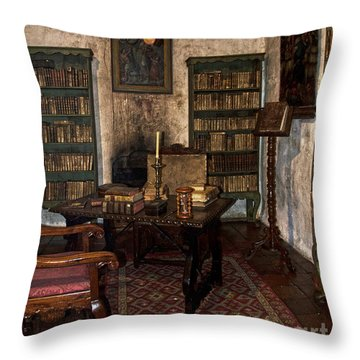 Junipero Serra Library In Carmel Mission Throw Pillow