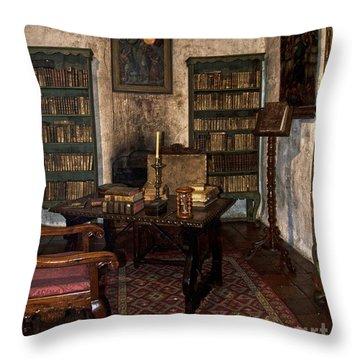Junipero Serra Library In Carmel Mission Throw Pillow