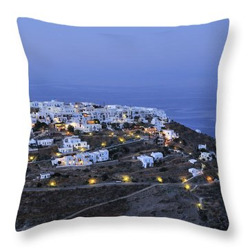 Kastro Village In Sifnos Island Throw Pillow