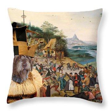 Korthals Pointing Griffon Art Canvas Print Throw Pillow by Sandra Sij