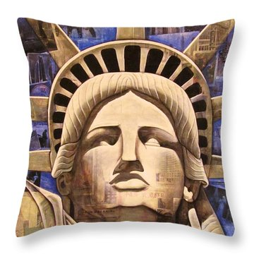 Lady Liberty Throw Pillow by Joseph Sonday