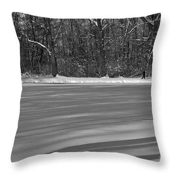 Lake Under Snow Throw Pillow
