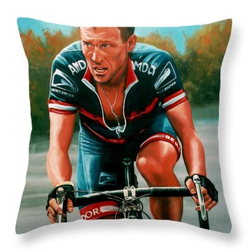 Lance Armstrong Throw Pillow by Paul Meijering