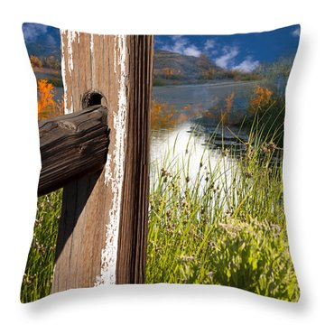 Landscape With Fence Pole Throw Pillow