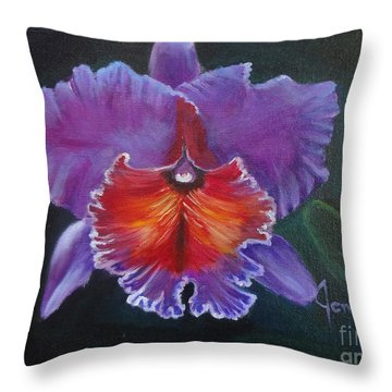 Throw Pillow featuring the painting Lavender Orchid by Jenny Lee