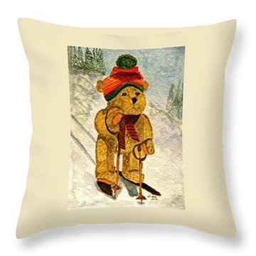 Learning To Ski Throw Pillow