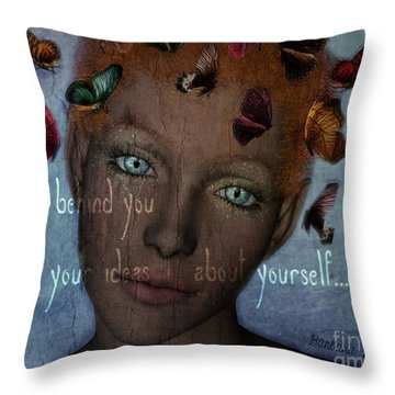 Throw Pillow featuring the digital art Leave Behind You All Of Your Ideas About Yourself by Barbara Orenya
