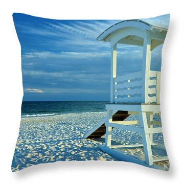 Lifeguard Hut On Beach Throw Pillow