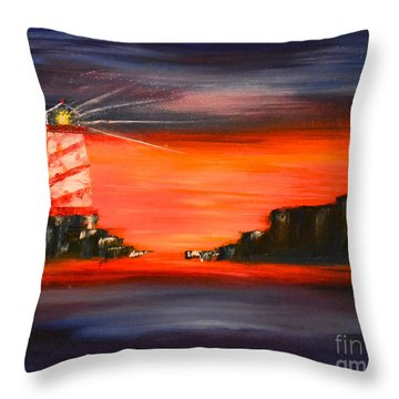 Lighthouse Bay Throw Pillow by Denise Tomasura