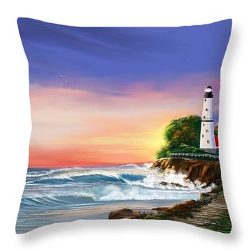 Lighthouse On The Cliff Throw Pillow by Anthony Fishburne