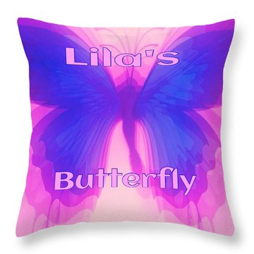 Throw Pillow featuring the digital art Lila Butterfly by Gayle Price Thomas