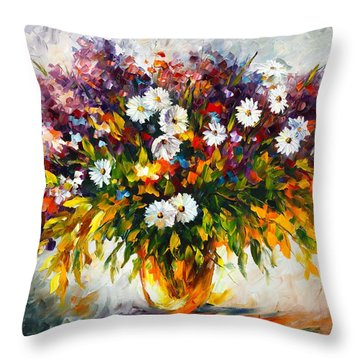 Lilac And Camomiles Throw Pillow by Leonid Afremov