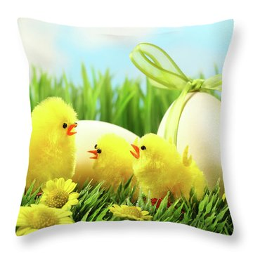 Little Yellow Easter Chicks In The Tall Grass  Throw Pillow by Sandra Cunningham