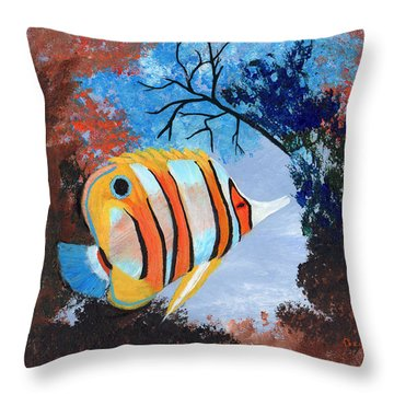 Longnose Butterfly Fish Throw Pillow by J Cheyenne Howell