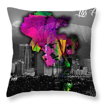 Los Angeles Map And Skyline Watercolor Throw Pillow