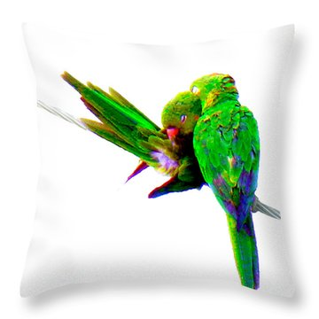 Love Birds Throw Pillow by J Anthony