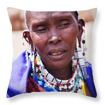 Maasai Woman Portrait In Tanzania Throw Pillow by Michal Bednarek
