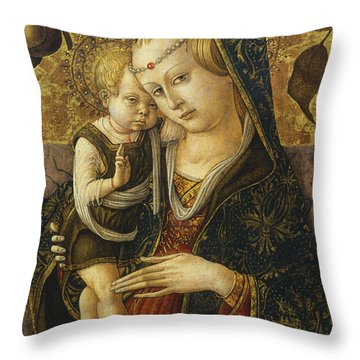 Madonna And Child Throw Pillow by Carlo Crivelli