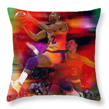Magic Johnson Throw Pillow by Marvin Blaine