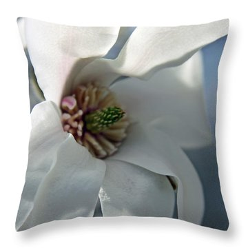 Magnolia In Watercolor Throw Pillow by Carolyn Stagger Cokley