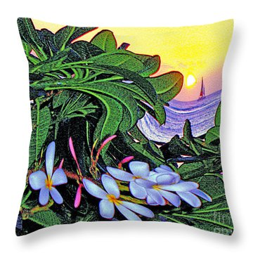 2 Mai Tais Waikiki Hawaii Throw Pillow by Jerome Stumphauzer