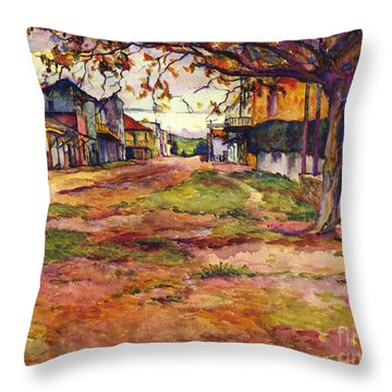 Main Street Of Early Spanish California Days San Juan Bautista Rowena M Abdy Early California Artist Throw Pillow