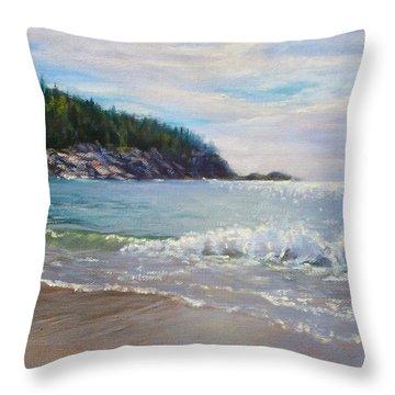 Maine Morning Throw Pillow by Bonnie Mason