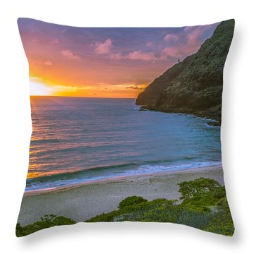 Makapuu Sunrise 1 Throw Pillow by Leigh Anne Meeks