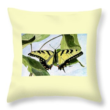 Throw Pillow featuring the painting Male Eastern Tiger Swallowtail by Angela Davies