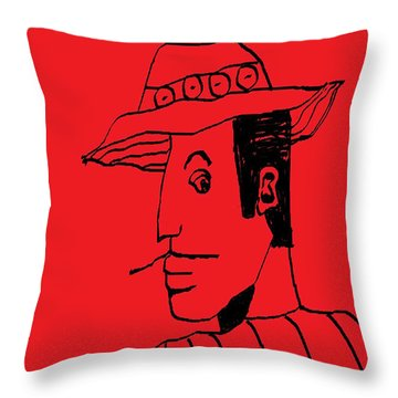 Throw Pillow featuring the drawing Man From Buenos Aires by Don Koester