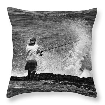 Man Versus The Sea Throw Pillow by Mike  Dawson